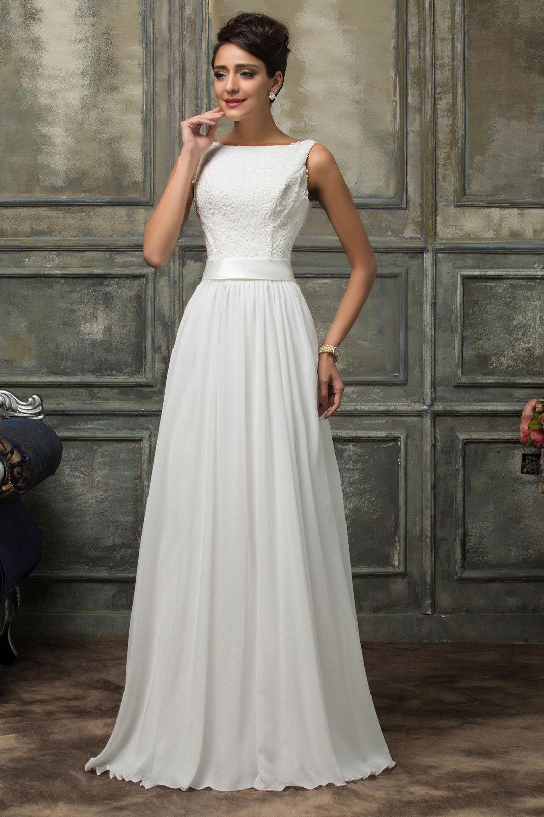 ceaf5ac7299 Bílé dlouhé svatební šaty na nižší postavu 38 M