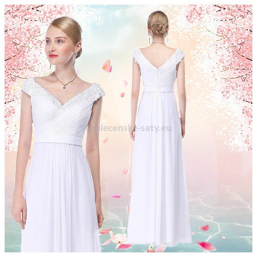 80592610e3a Bílé dlouhé svatební šaty na ramena 34 XS