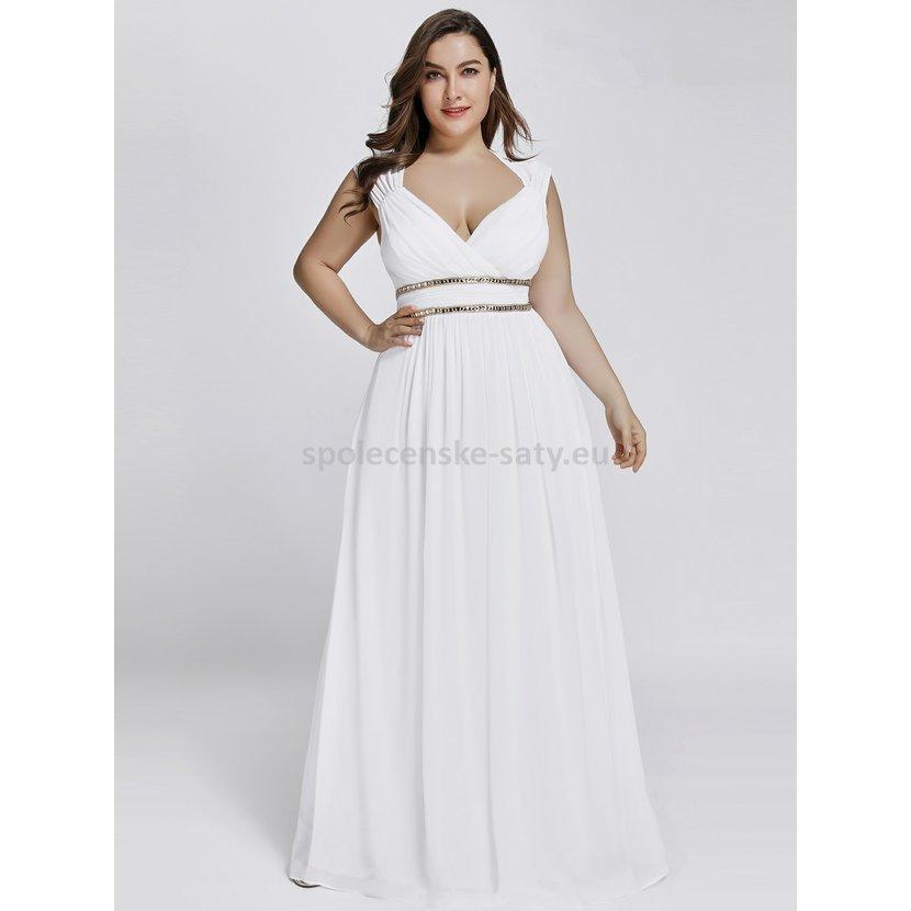 037feabce1c Bílé dlouhé svatební šaty ve stylu řecké bohyně 50 pro plnoštíhlé ...