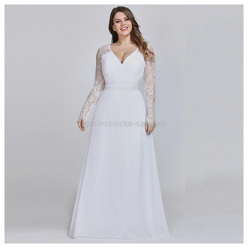 Bílé dlouhé svatební šaty s rukávem pro plnoštíhlé 50-52 ... cbdf511fff