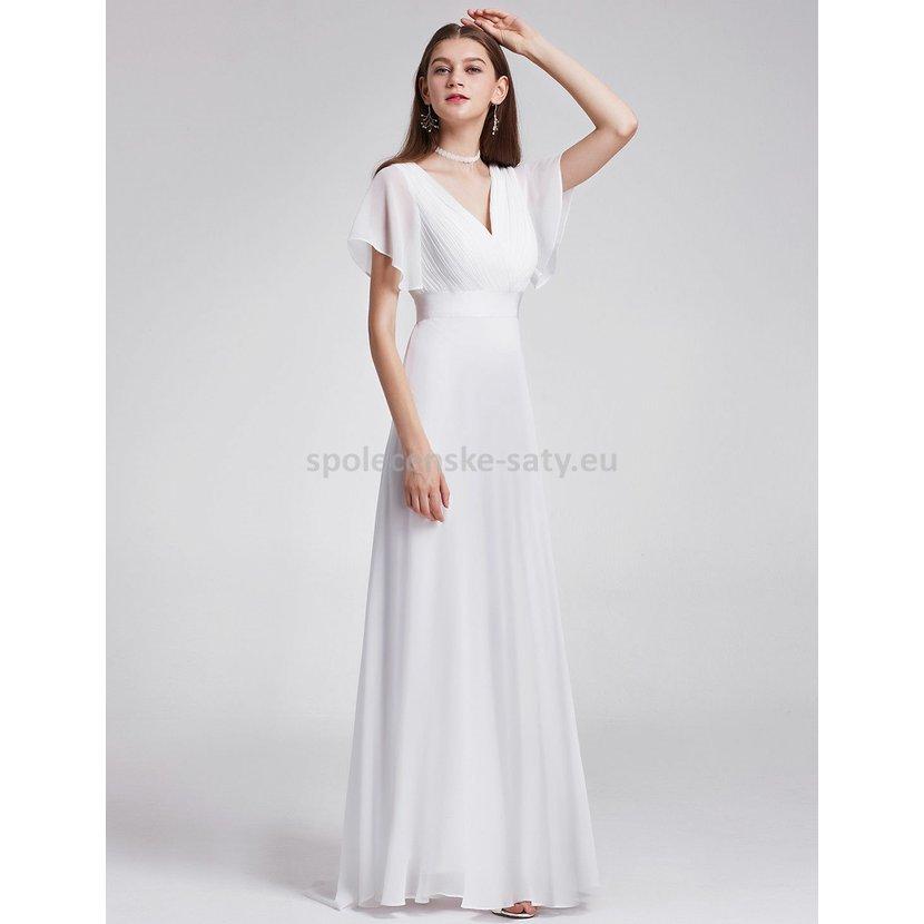 ea6d806afb2 Bílé dlouhé svatební šaty s rukávem jednoduché s vlečkou 34 XS ...