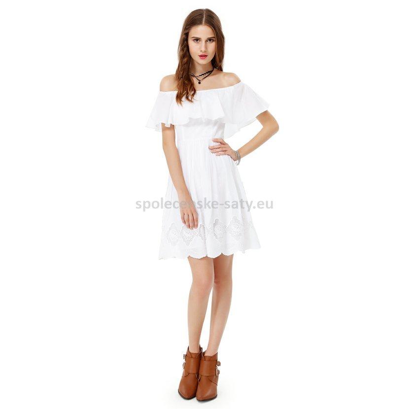 Bílé krátké letní šaty holá ramena 38-40  ad4d2e4fba