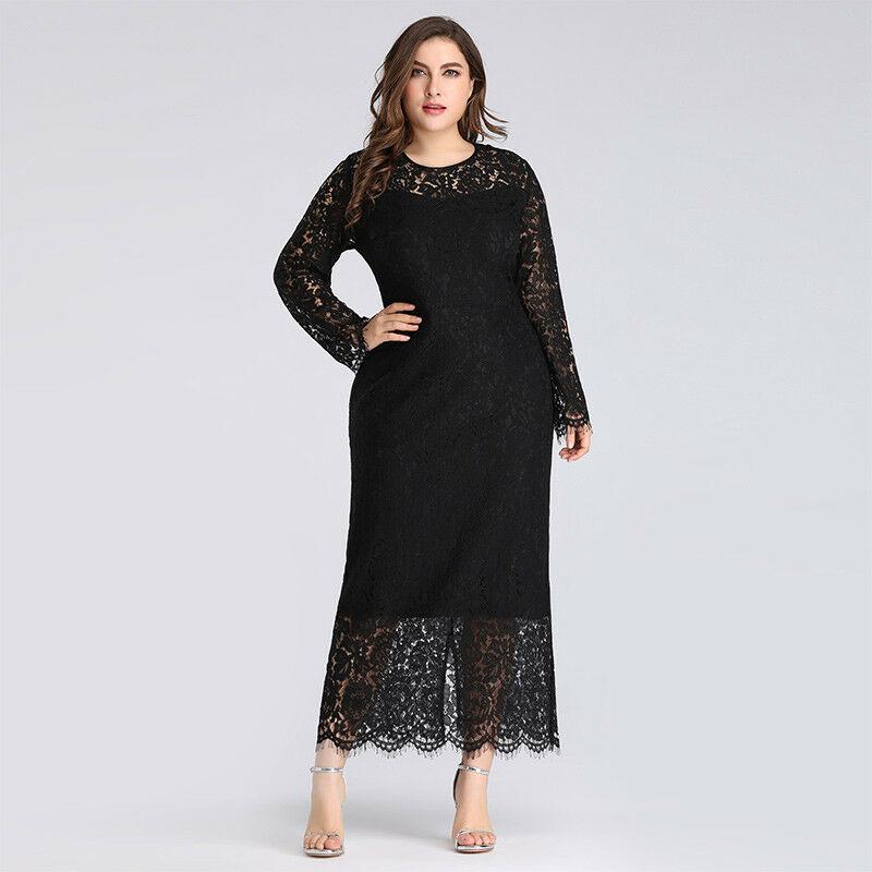 Černé dlouhé krajkové šaty s rukávem pro plnoštíhlé 48  a6da9c424e