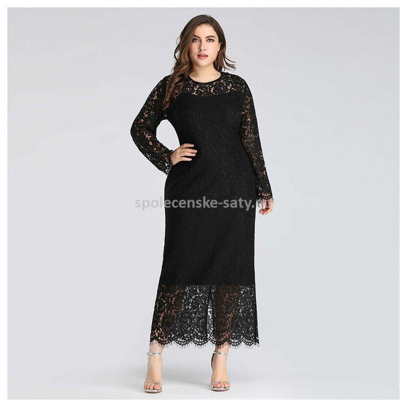 160265a864ba Černé dlouhé krajkové šaty s rukávem pro plnoštíhlé 46