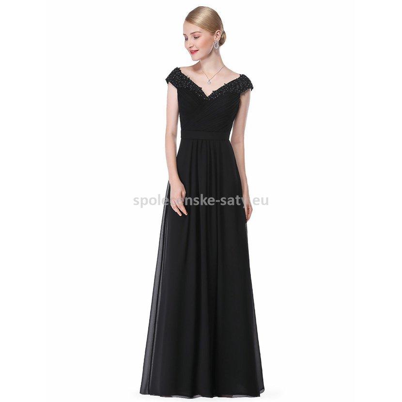 Černé dlouhé plesové šaty na večer na ramena 38-40 061ac73ec8
