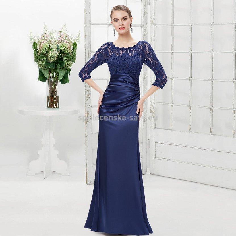 Modré tmavé dlouhé pouzdrové šaty s 3 4 krajkovým rukávem elegantní ... aff96cdb6d6