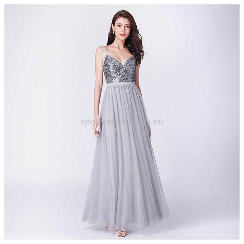 Šedé stříbrné dlouhé plesové šaty glamour 38-40  2bdcdf0bee