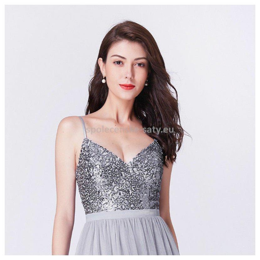5f855d82571d Šedé stříbrné dlouhé plesové šaty glamour 40-42