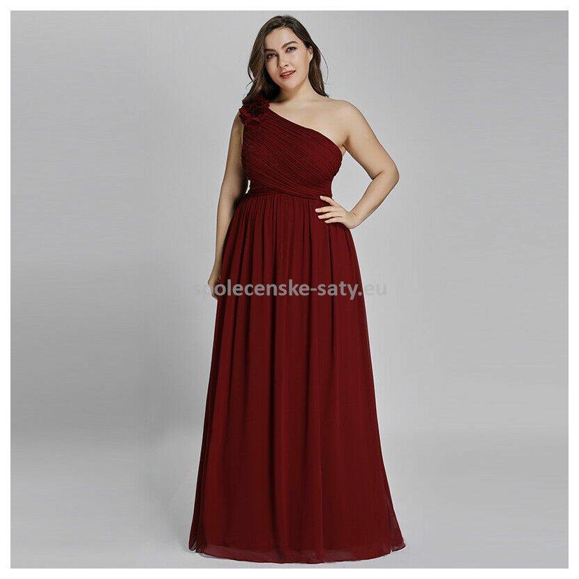 4d9dbdd803f6 Vínové dlouhé společenské šaty na jedno rameno jednoduché 50 ...