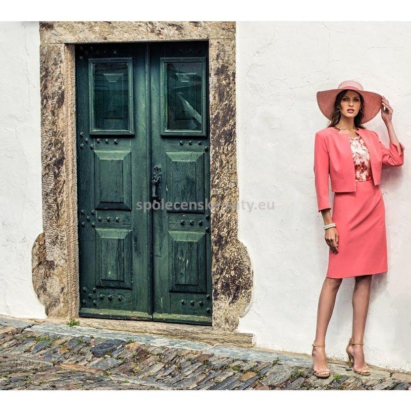6d1910736d03 Korálové lososové šaty na svatbu s kabátkem pro maminky 44 Michaela ...