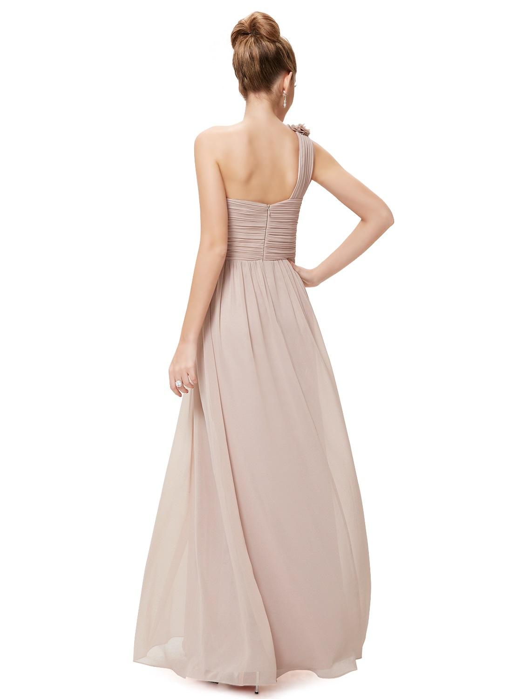 774be3b827b6 Béžové dlouhé společenské šaty na jedno rameno jednoduché 34-36 ...