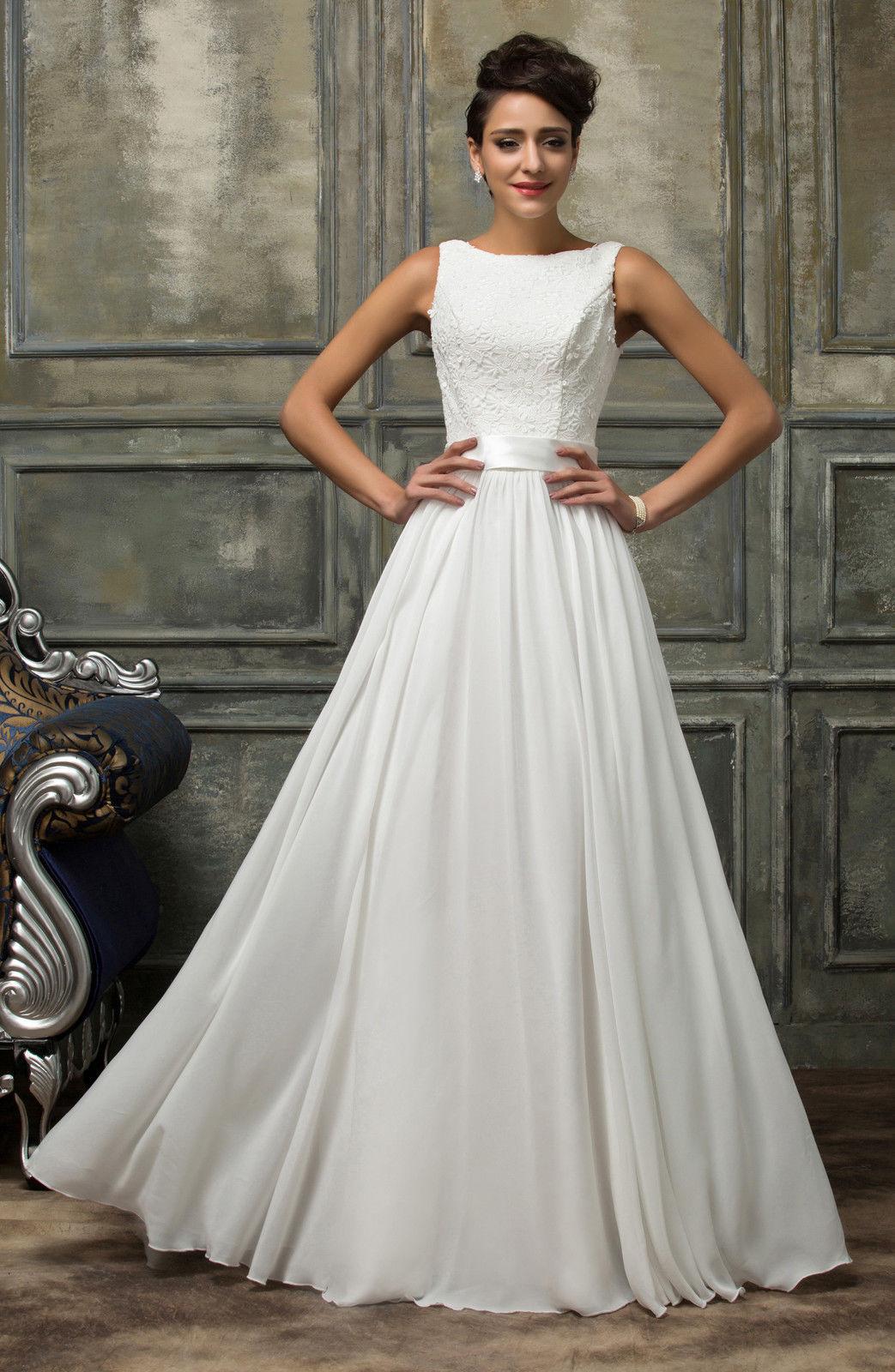 d5ccecfd5d1 Bílé dlouhé svatební šaty na vysokou postavu 34 XS