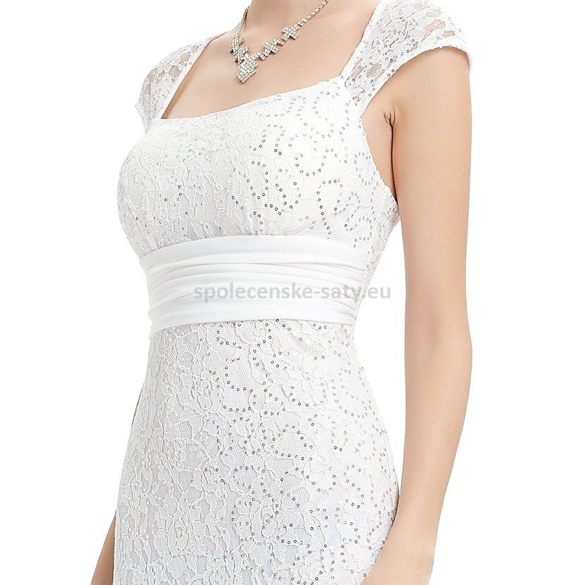 2ae67c1efb2 Bílé dlouhé společenské svatební šaty krajkové s mini rukávkem 42 XL