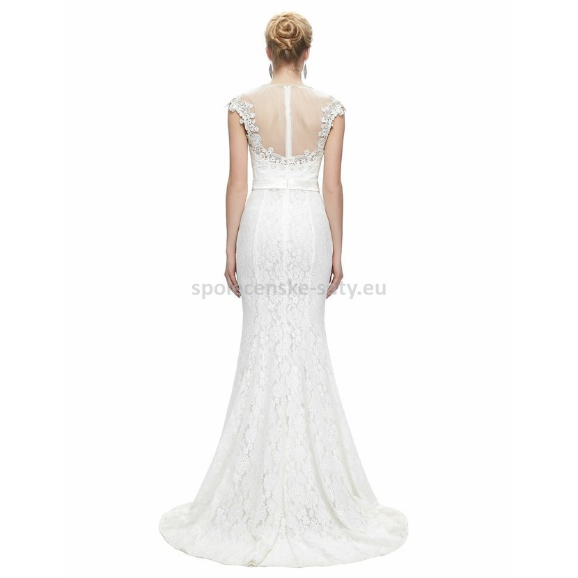 f132b677cfa4 Bílé dlouhé svatební šaty krajkové pouzdrové s mini rukávkem 38 M ...