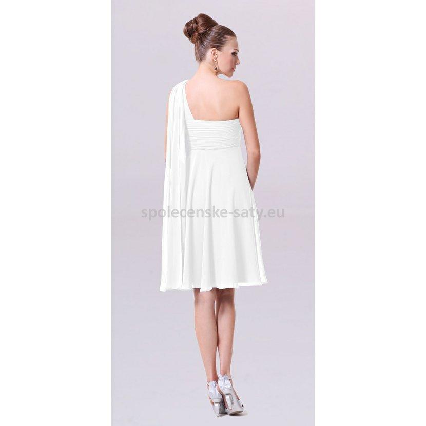 Bílé krátké společenské svatební šaty na jedno rameno i pro těhotné ... 6feff8618e4