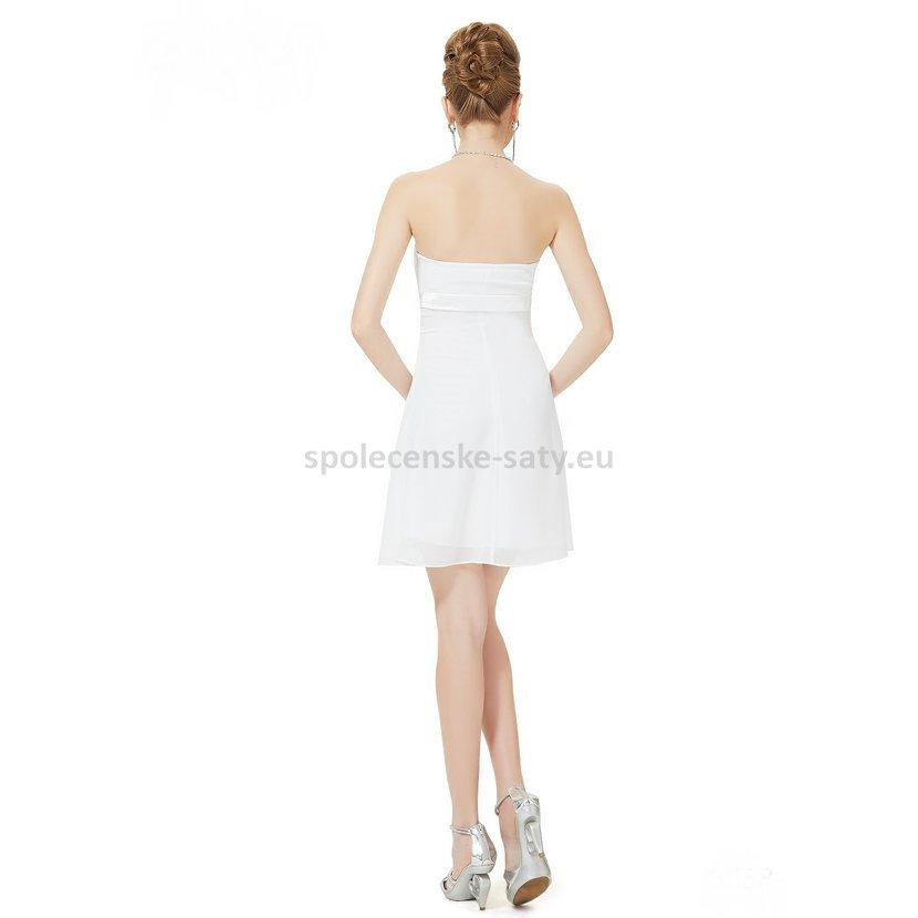 21eb90c58bb Bílé krátké svatební šaty společenské bez ramínek pro nevěstu šaty ...