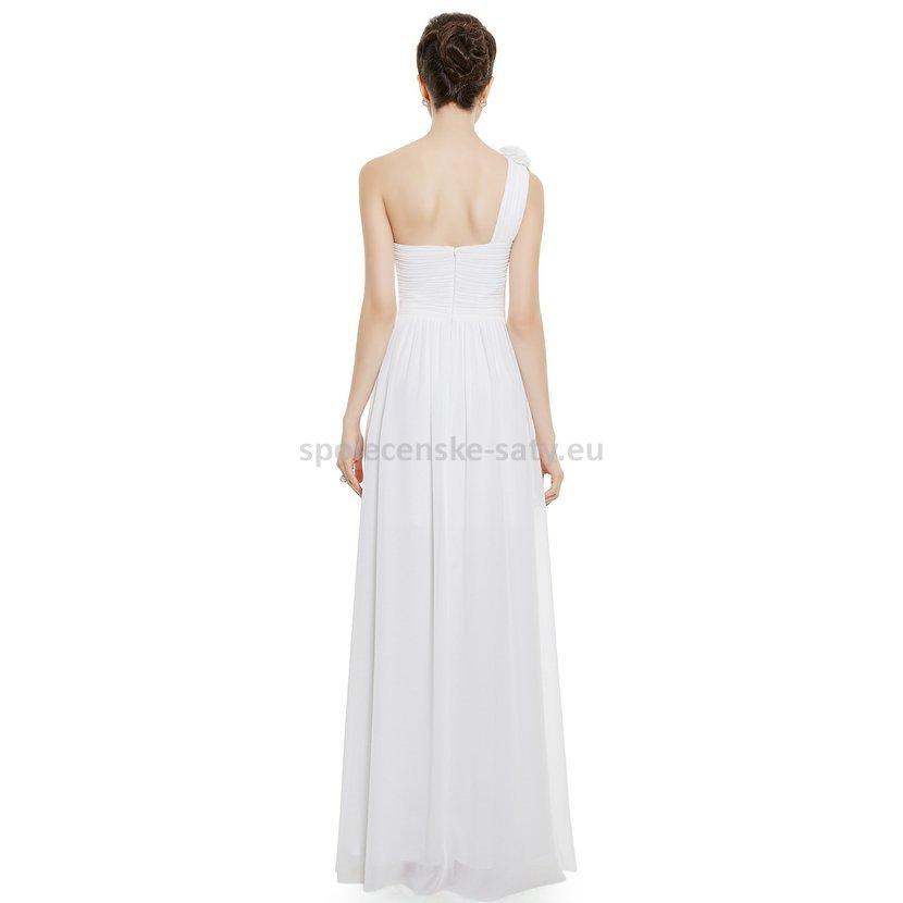 a1742b021a37 Bílé dlouhé svatební šaty na jedno rameno jednoduché 38-40 ...