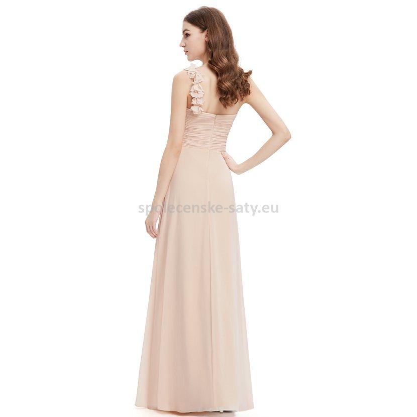 Béžové pudrové dlouhé společenské šaty na jedno rameno i pro těhotné ... 30c7564475e