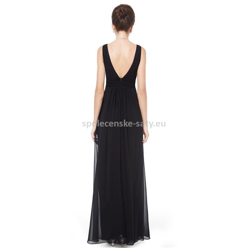Černé dlouhé šifonové šaty hrubší ramínka na svatbu či ples 42 XL ... a5c0af9a11