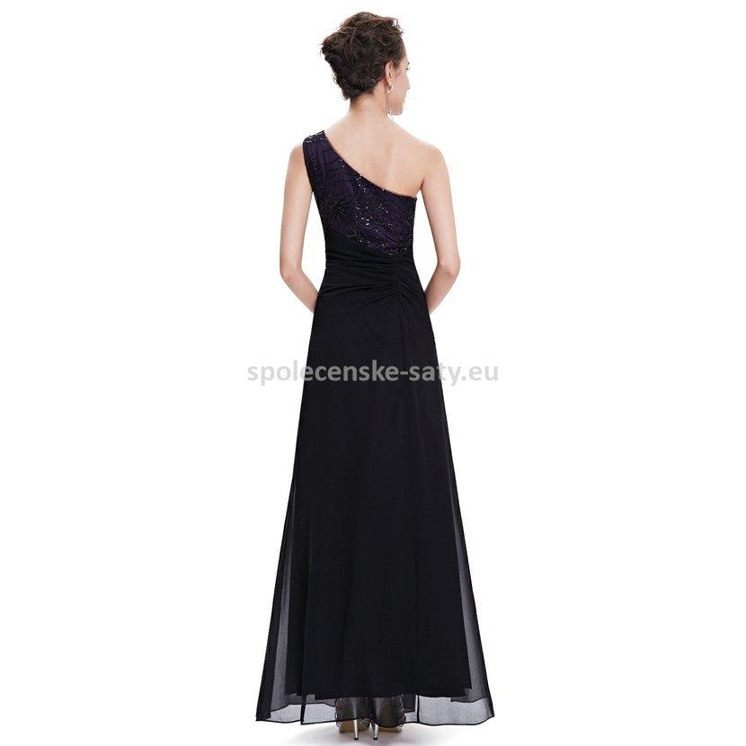 Černé dlouhé plesové šaty na jedno rameno s fialovou 34 XS ... 13da0e80b6b