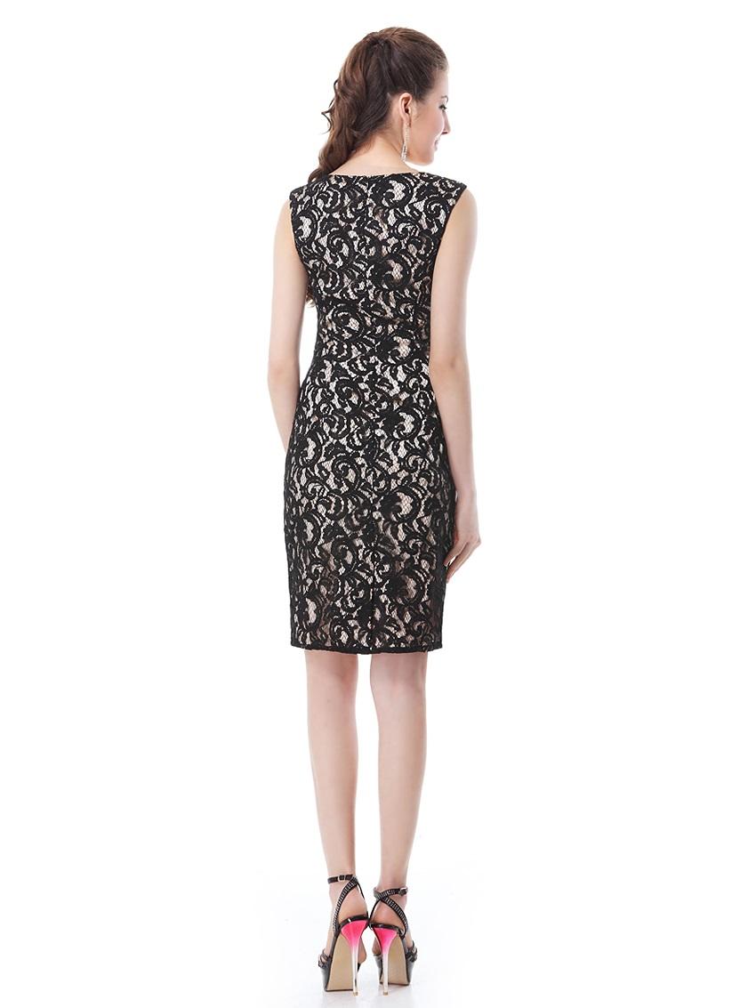 fd32aad12015 Černé krátké koktejlky pouzdrové krajkové šaty 34 XS