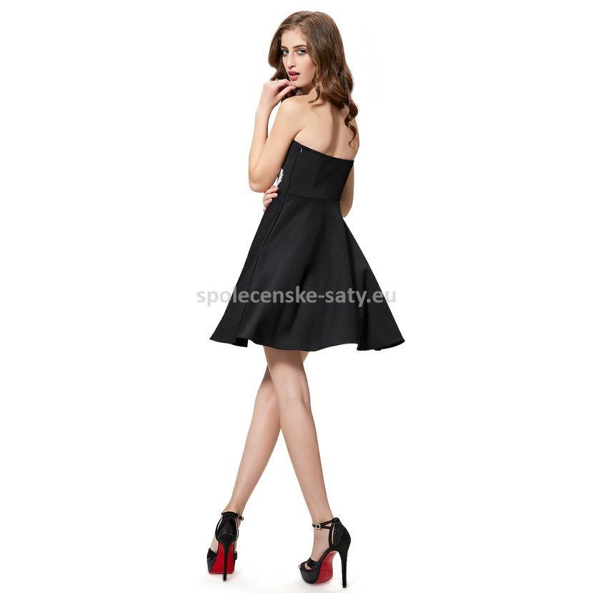 Černé krátké společenské šaty koktejlky bez ramínek 38 M ... cfe1eb7a551
