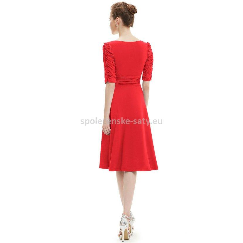 Červené krátké společenské šaty koktejlky s rukávem na svatbu 36 S ... 7ddeb6f591