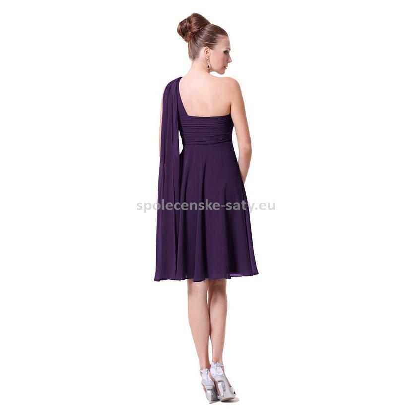 Fialové tmavě krátké společenské šaty na jedno rameno s šálem i pro těhulky  34 XS. levné koktejlové šaty pro matky na svatbu Brno Praha Plzeň d62a85d4700