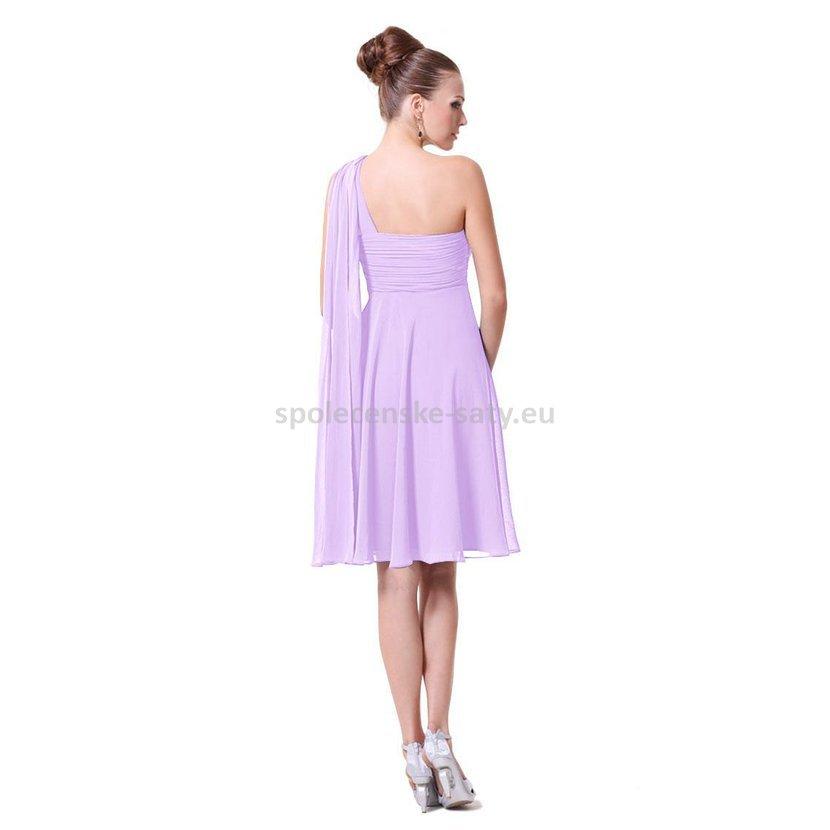 Lila krátké společenské šaty na 1 rameno empírové i pro těhotné 46 ... 44d084dbc1