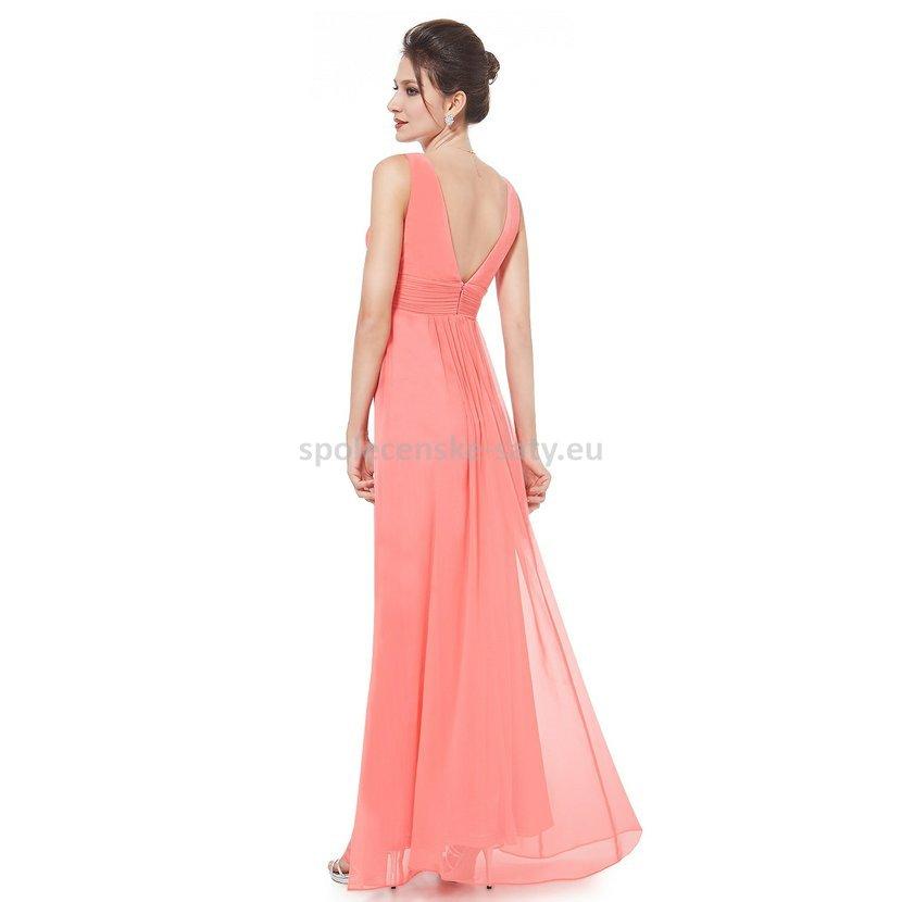 Korálové dlouhé šifonové šaty hrubší ramínka na svatbu či ples 36 S ... edcfc18575c