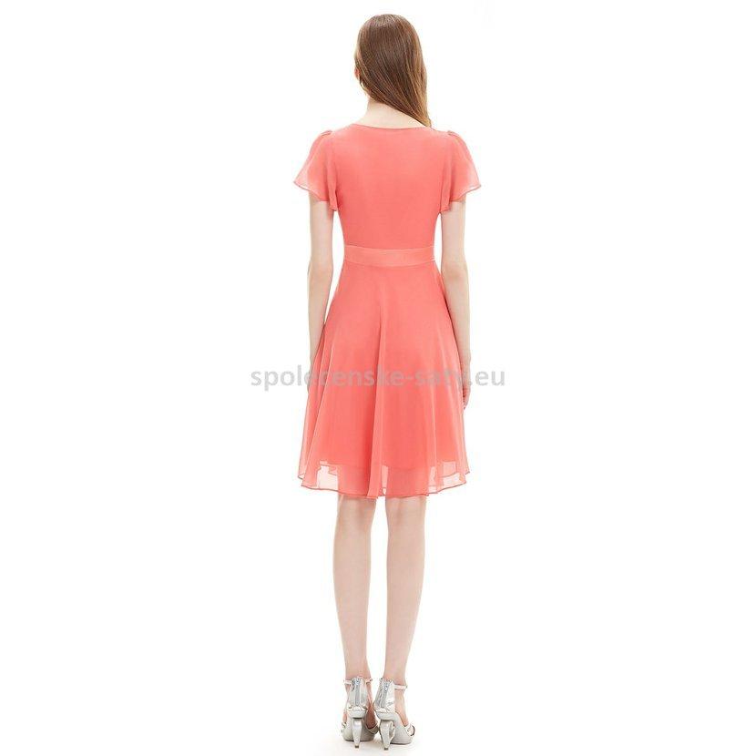 lososové šaty po kolena s krátkým rukávem na ples svatbu do tanečních do  divadla 58f50cc6332