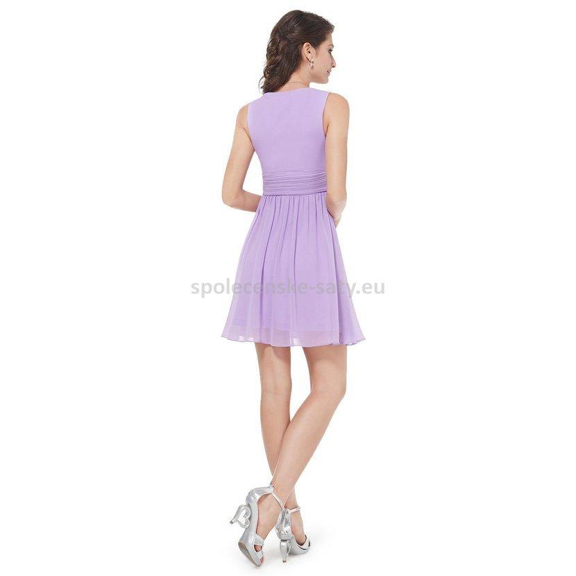 Lila krátké společenské šaty na svatbu promoce 44 XXL  ffdc598de2f
