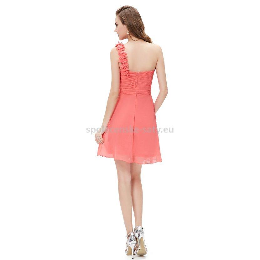 0d189ecaecb Lososové krátké společenské šaty koktejlky na jedno rameno 40 L ...