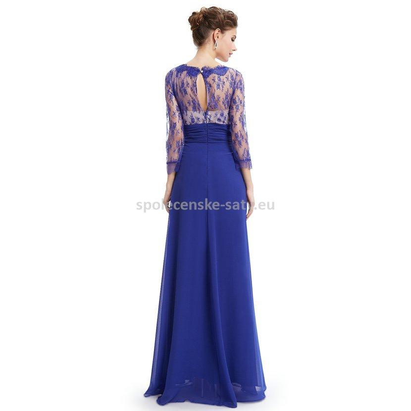 Modré dlouhé společenské šaty s rukávem na vysoké pro svatební matky 36 S.  luxusní modré krajkové šaty pro matku svatby s rukávem na ples 01ba010097a
