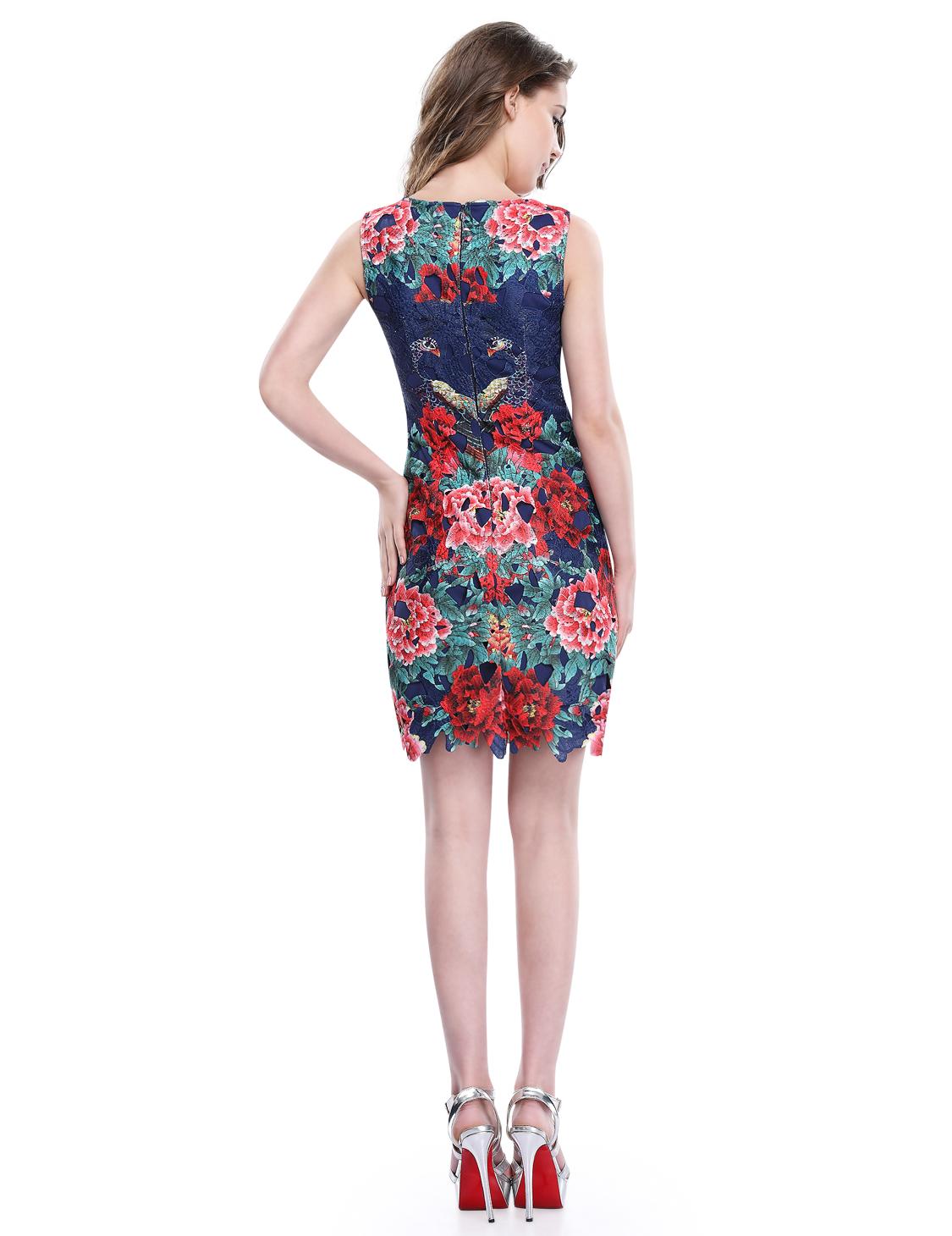 Modré krátké šaty krajkové pouzdrové se vzorem pro plnoštíhlé 34 xs ... f76da8a386
