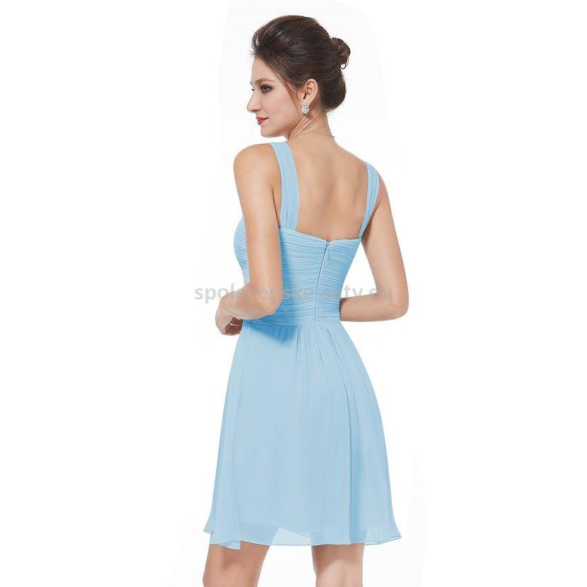 0622640ad2ea Modré světlé krátké společenské šaty na svatbu koktejlky 42 XL ...
