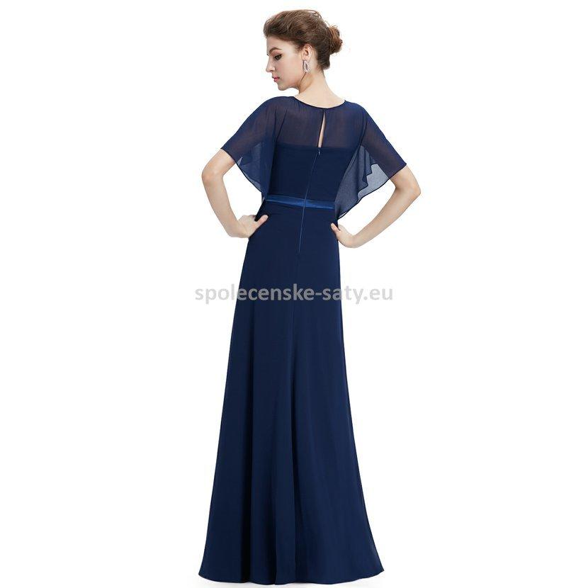 tmavě modré dlouhé společenské šaty s rukávem pelerínkou pro svatební matku  XS 7b1166c6d73