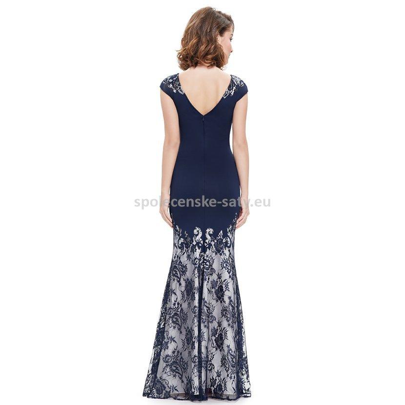 Modré tmavé dlouhé luxusní šaty s rukávkem na svatbu ples do opery ... 6c24ba68f2