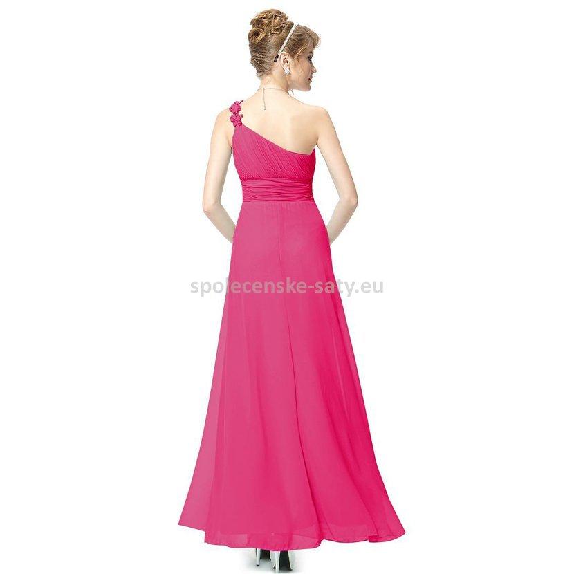 dd5778e3a040 Růžové dlouhé plesové šaty na jedno rameno jednoduché levné 36 S. levné  plesové šaty růžové Ostrava Frýdek Třinec Bohumín