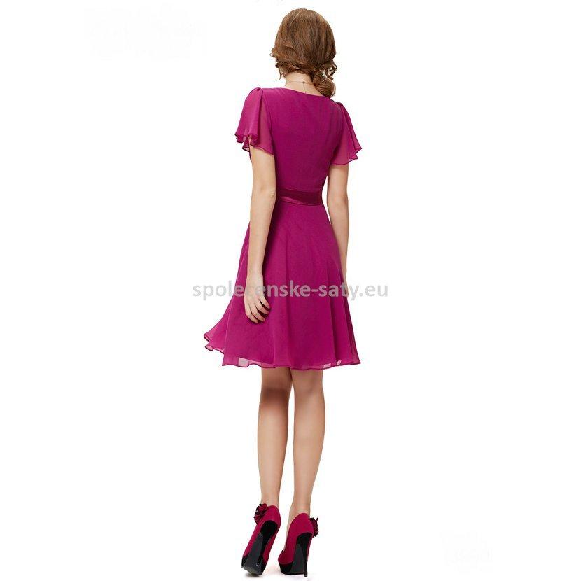 Růžové krátké společenské šaty koktejlky s rukávem 44 XXL · fuchsiové šaty  po kolena s krátkým rukávem na ples svatbu do tanečních do divadla 58a31125e7
