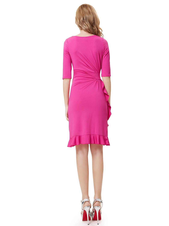 Růžové krátké šaty koktejlky s rukávem do divadla na svatbu 34 XL výprodej   8b47070c41