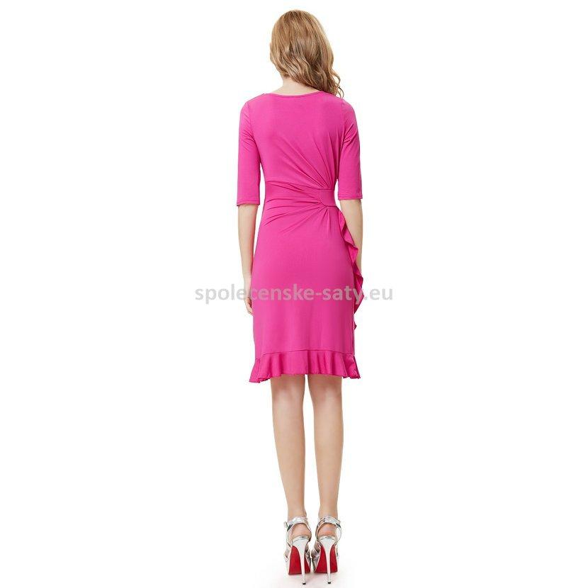 Růžové krátké šaty koktejlky s rukávem do divadla na svatbu 34 XL ... f0aa0c4fa5