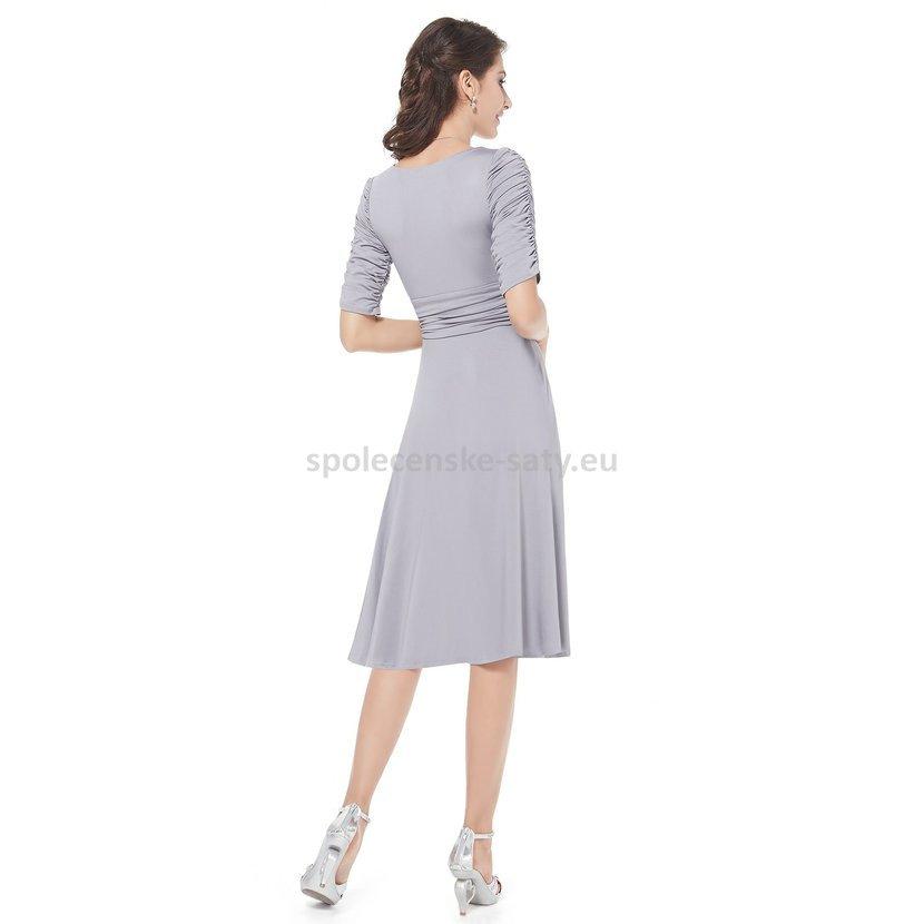 ed8a02fd5710 Šedé krátké společenské šaty koktejlky s rukávem na svatbu 34 XS ...