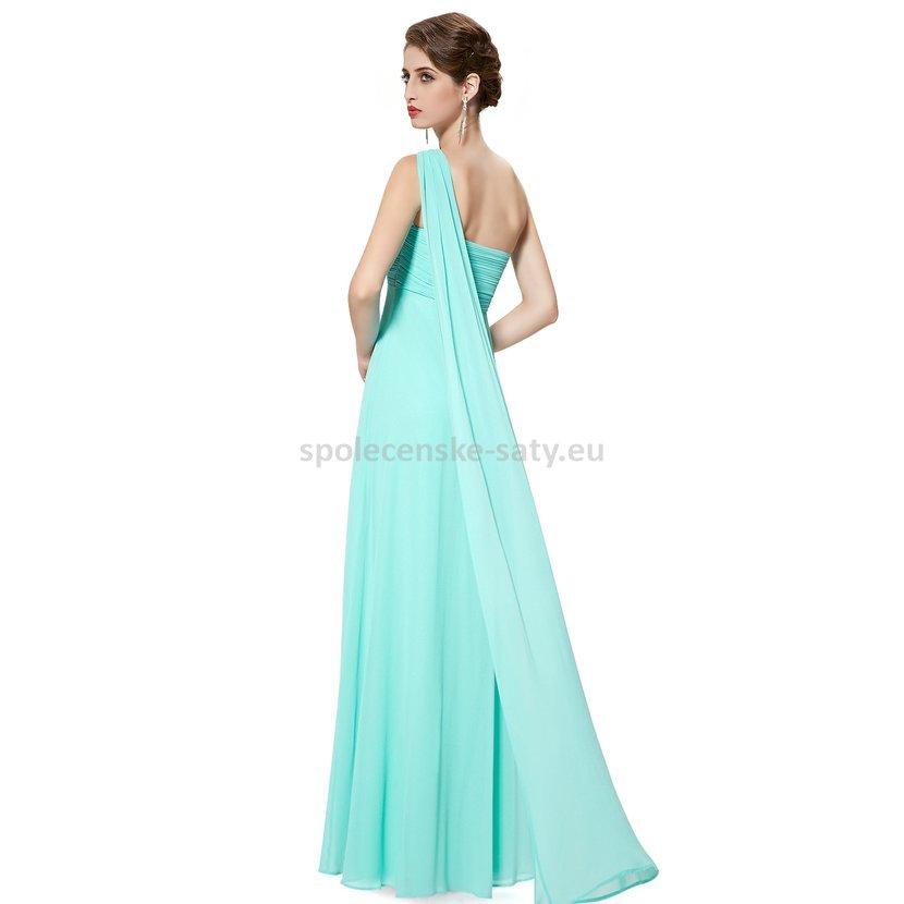 Tyrkysové dlouhé společenské šaty na jedno rameno empírové i pro ... d204532ac9