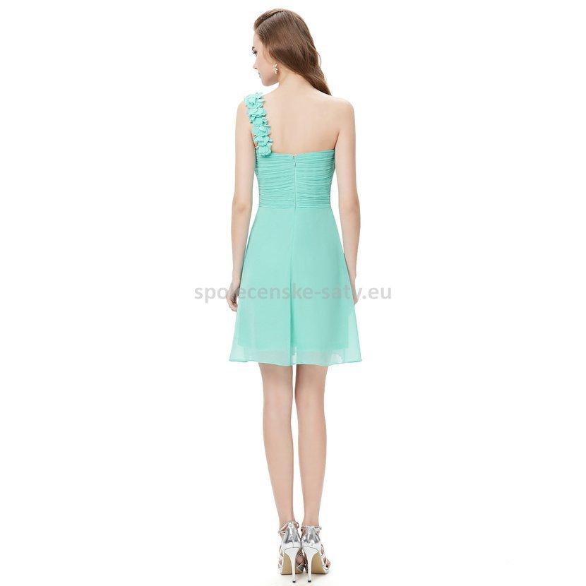 ea911a02942 Tyrkysové krátké společenské šaty koktejlky na jedno rameno 42 XL ...