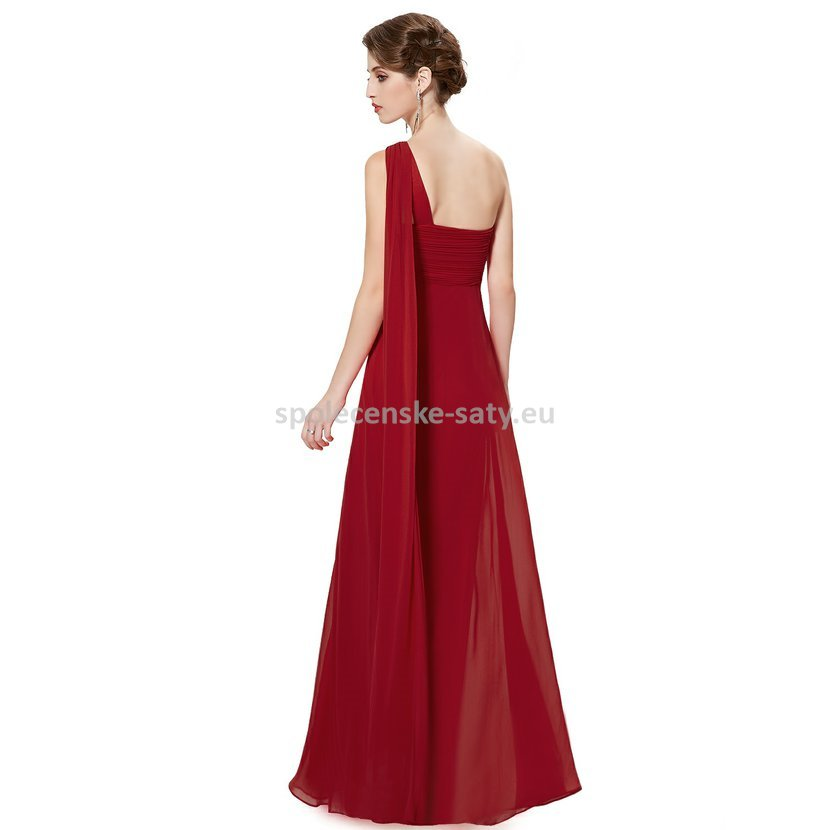 Vínové dlouhé plesové šaty na rameno empírové i pro těhotné 36 S ... 73f363e6f3
