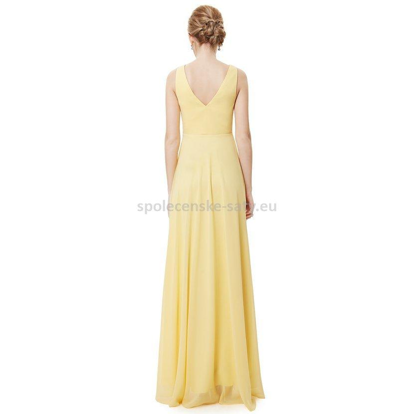 0bf41cd82b7 Žluté dlouhé společenské šaty na hrubší ramínka vpředu kratší 34 ...