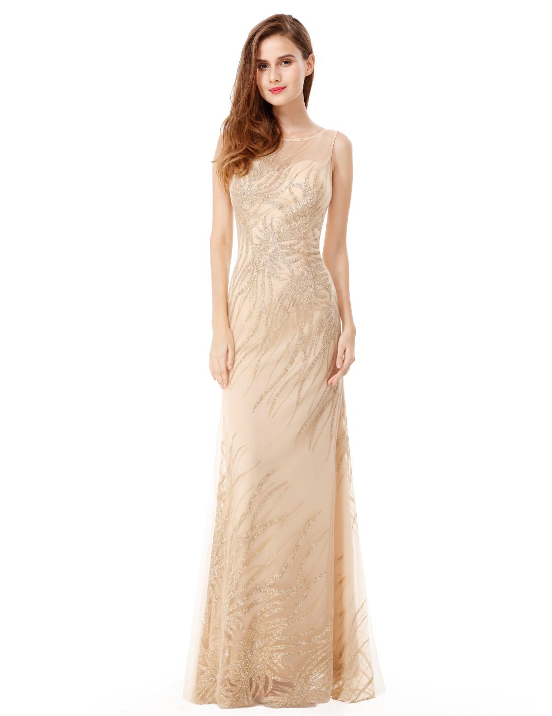 Béžové šaty na svatbu ples  2ca2d52cc6f