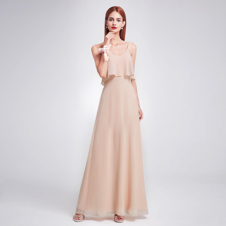 Béžové pudrové dlouhé společenské šaty na svatbu 38 M  9f4e5cd262