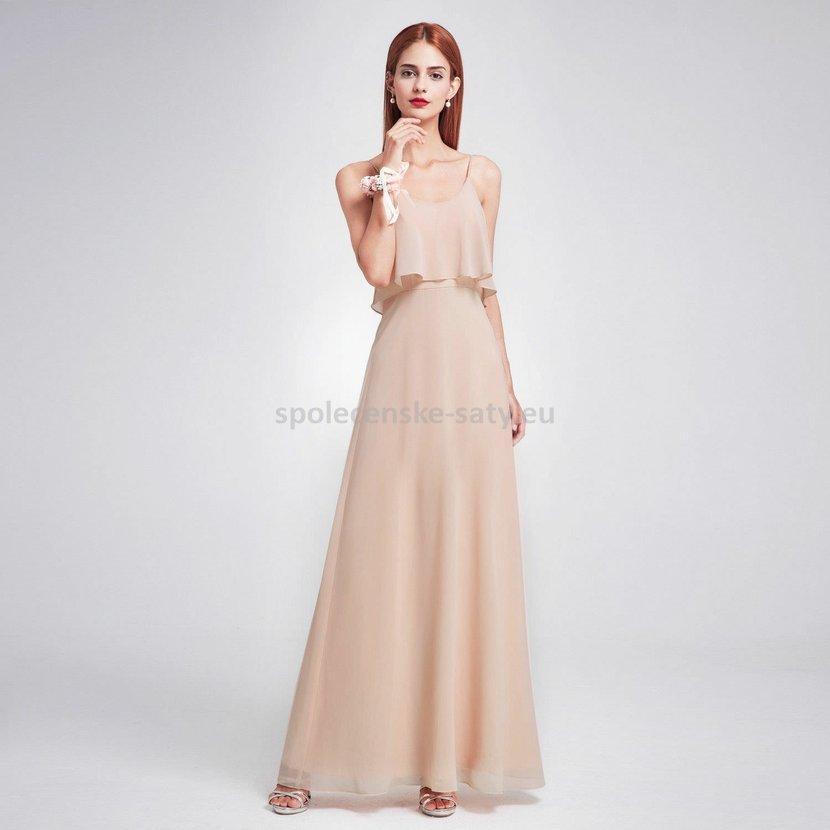 Béžové pudrové dlouhé společenské šaty na svatbu 44  9f8219d2dd9